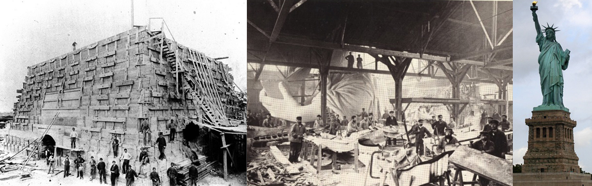 Various phases of installing the Statue of Liberty